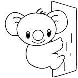 Koala Bear, Cute Koala Bear Coloring Page: Cute Koala Bear Coloring Page