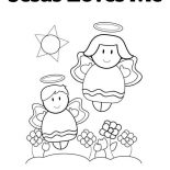 Jesus Loves Me, Cute Little Angels In Jesus Love Me Coloring Page: Cute Little Angels in Jesus Love Me Coloring Page