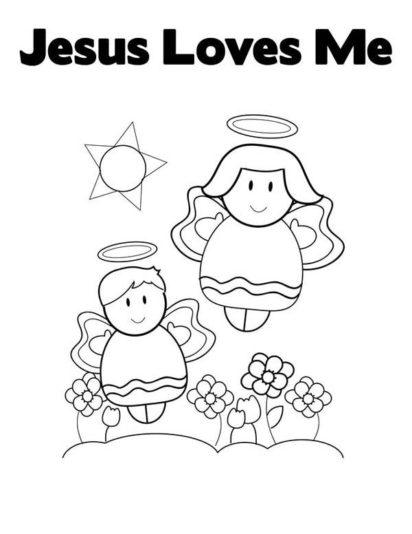 Jesus Loves Me, : Cute Little Angels in Jesus Love Me Coloring Page