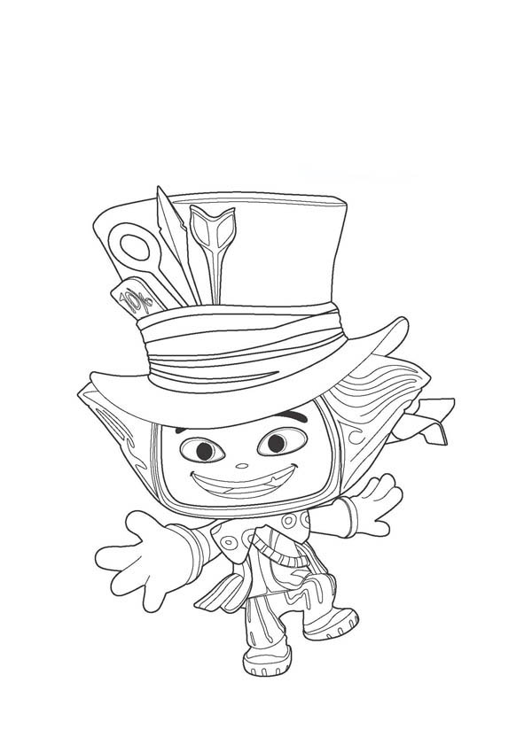 Mad Hatter, : Cute Little Mad Hatter Coloring Page