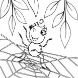 Spider, Cute Spider Girl Standing On Spider Web Coloring Page: Cute Spider Girl Standing on Spider Web Coloring Page