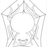 Spider, Cute Spider With Spider Web Coloring Page: Cute Spider with Spider Web Coloring Page