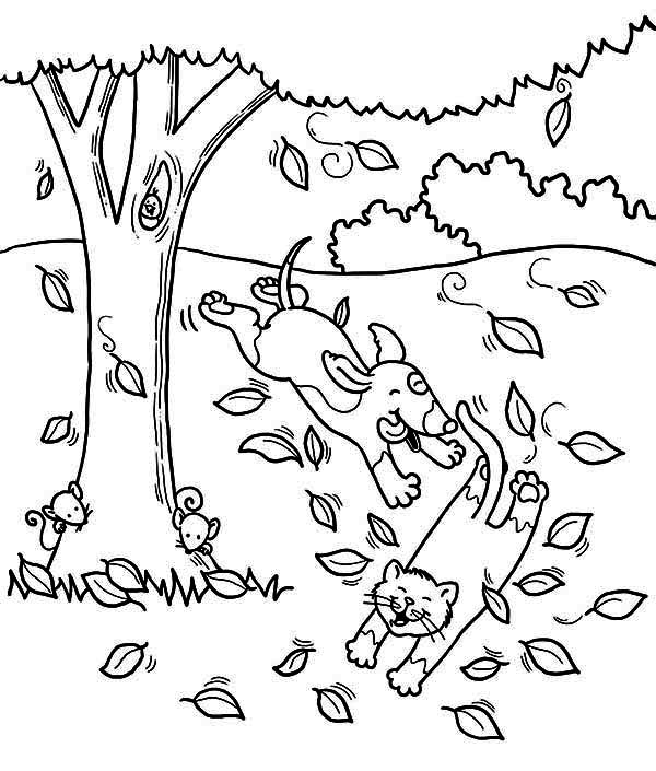 Fall Leaf, : Dog Run After Cat Under Fall Leaf Coloring Page