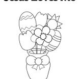 Jesus Loves Me, Easter Egg And Flowers In Jesus Love Me Coloring Page: Easter Egg and Flowers in Jesus Love Me Coloring Page