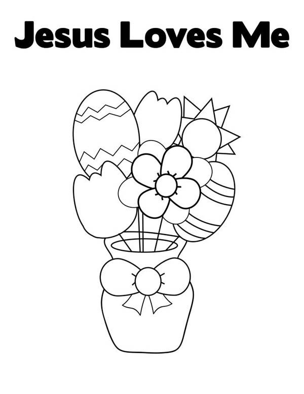 Jesus Loves Me, : Easter Egg and Flowers in Jesus Love Me Coloring Page