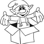Elf, Elf Came Out From Box Coloring Page: Elf Came Out from Box Coloring Page
