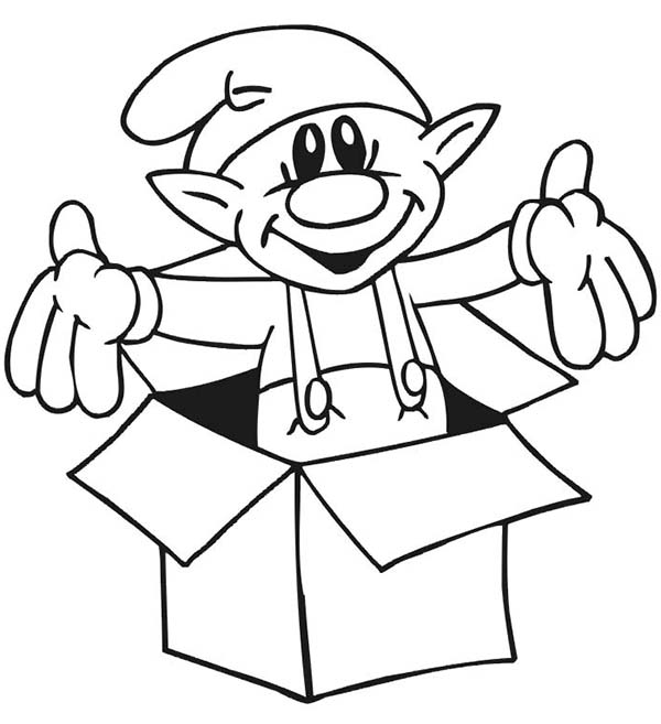 Elf, : Elf Came Out from Box Coloring Page