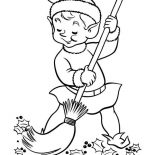 Elf, Elf Sweeping At The Yard Coloring Page: Elf Sweeping at the Yard Coloring Page