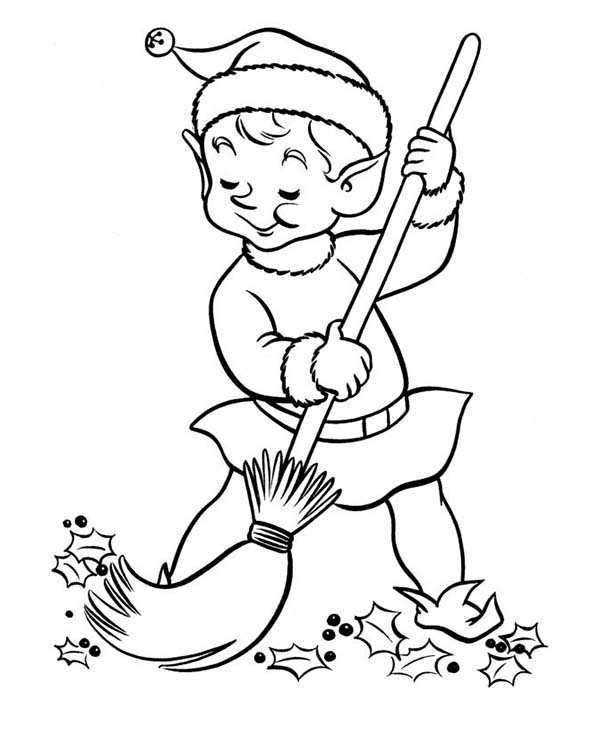 Elf, : Elf Sweeping at the Yard Coloring Page