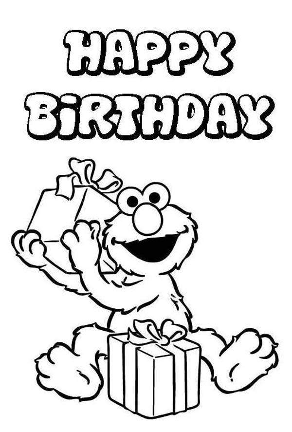 Happy Birthday, : Elmo Love to Receipt Present in Happy Birthday Coloring Page