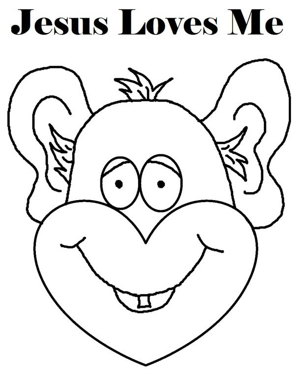 Jesus Loves Me, : Even Monkey Says Jesus Loves Me Coloring Page