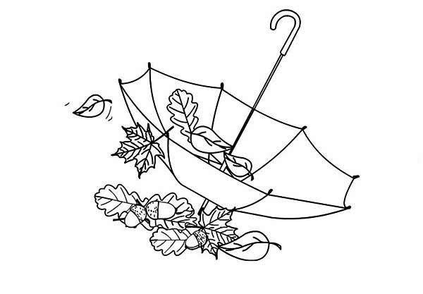 Fall Leaf, : Fall Leaf in Umbrella Coloring Page