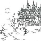 House, Fantasy Ghost House And Skeleton In Houses Coloring Page: Fantasy Ghost House and Skeleton in Houses Coloring Page