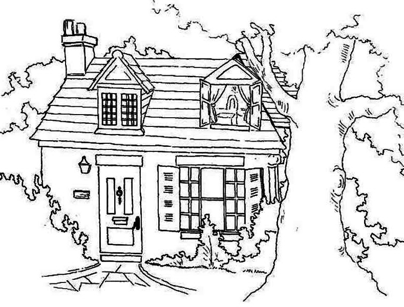 House, : Farmer House in Houses Coloring Page