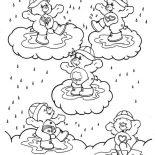 Raindrop, Five Baby Bear Playing Raindrop Coloring Page: Five Baby Bear Playing Raindrop Coloring Page