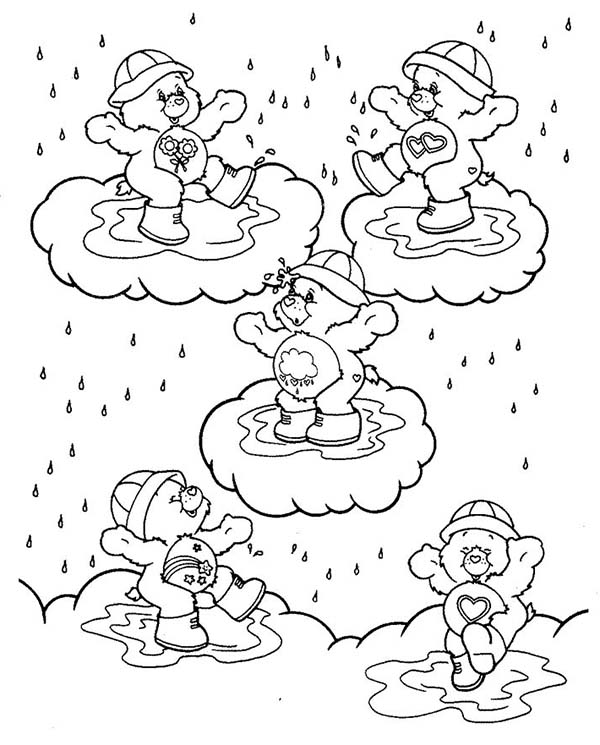 Raindrop, : Five Baby Bear Playing Raindrop Coloring Page