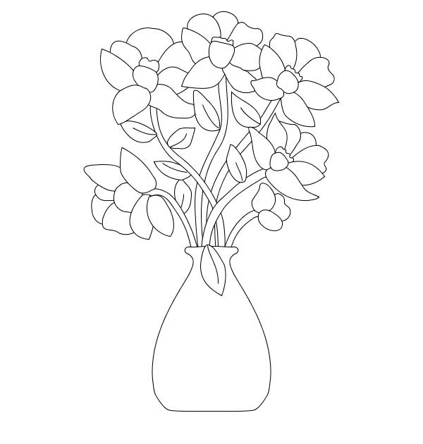 Flower Bouquet, : Flower Bouquet Coloring Page