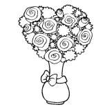 Flower Bouquet, Flower Bouquet Shaped Heart Coloring Page: Flower Bouquet Shaped Heart Coloring Page