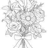 Flower Bouquet, Flower Bouquet For Valentine Day Coloring Page: Flower Bouquet for Valentine Day Coloring Page