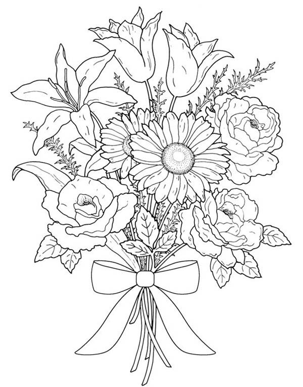 Flower Bouquet, : Flower Bouquet for Valentine Day Coloring Page