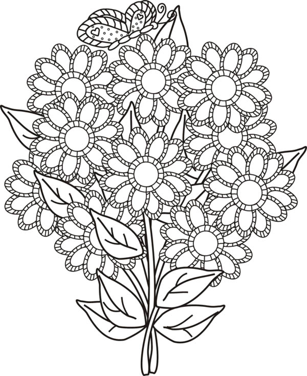 Flower Bouquet, : Flower Bouquet for Your Wife Coloring Page