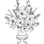 Flower Bouquet, Flower Bouquet In Vase Coloring Page: Flower Bouquet in Vase Coloring Page