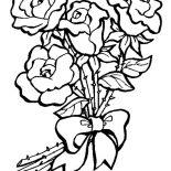 Flower Bouquet, Flower Bouquet Of Roses Coloring Page: Flower Bouquet of Roses Coloring Page