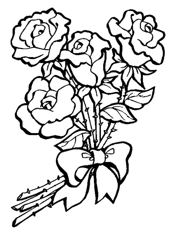 Flower Bouquet, : Flower Bouquet of Roses Coloring Page