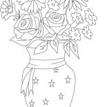 Flower Bouquet, Flower In Vase From Beautiful Flower Bouquet Coloring Page: Flower in Vase from Beautiful Flower Bouquet Coloring Page
