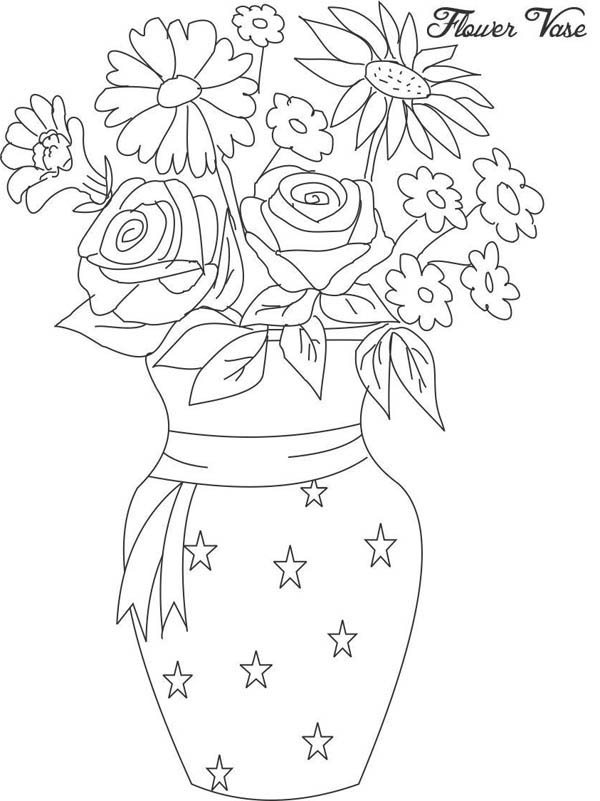 Flower Bouquet, : Flower in Vase from Beautiful Flower Bouquet Coloring Page