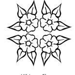 Hibiscus Flower, Four Beautiful Hibiscus Flower Coloring Page: Four Beautiful Hibiscus Flower Coloring Page