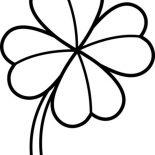 Four-Leaf Clover, Four Leaf Clover Lineart Coloring Page: Four-Leaf Clover Lineart Coloring Page
