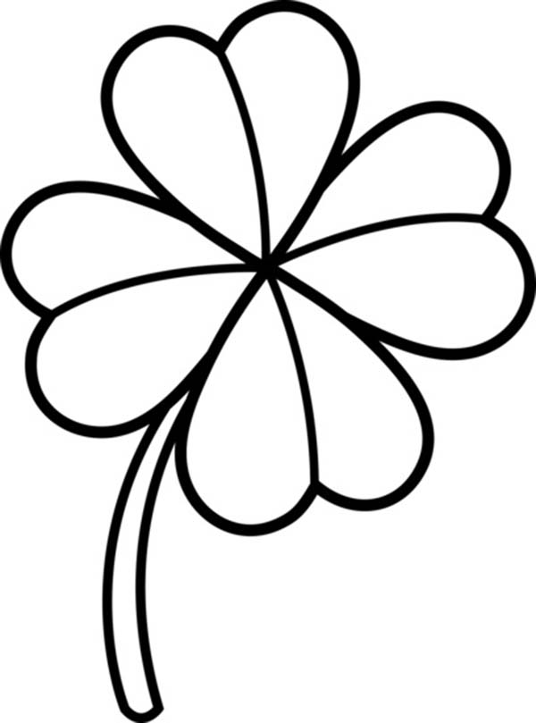 Four-Leaf Clover, : Four-Leaf Clover Lineart Coloring Page