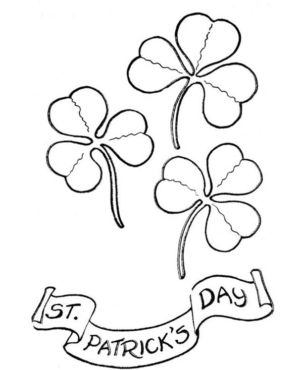 Four-Leaf Clover, : Four-Leaf Clover on St Patricks Day Coloring Page