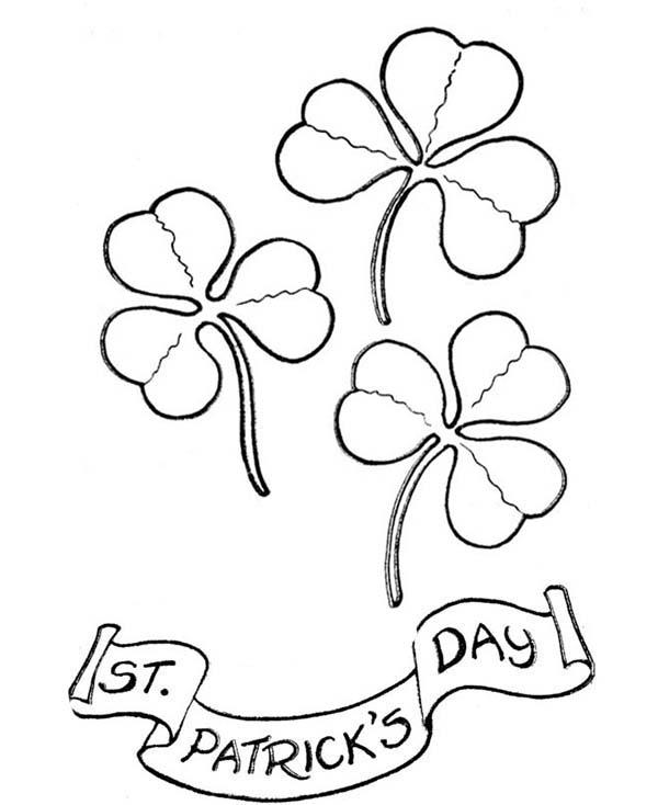 Four-Leaf Clover, : Four-Leaf Clover on St Patricks Day Coloring Page
