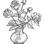 Flower Bouquet, Fresh Roses For Flower Bouquet Coloring Page: Fresh Roses for Flower Bouquet Coloring Page