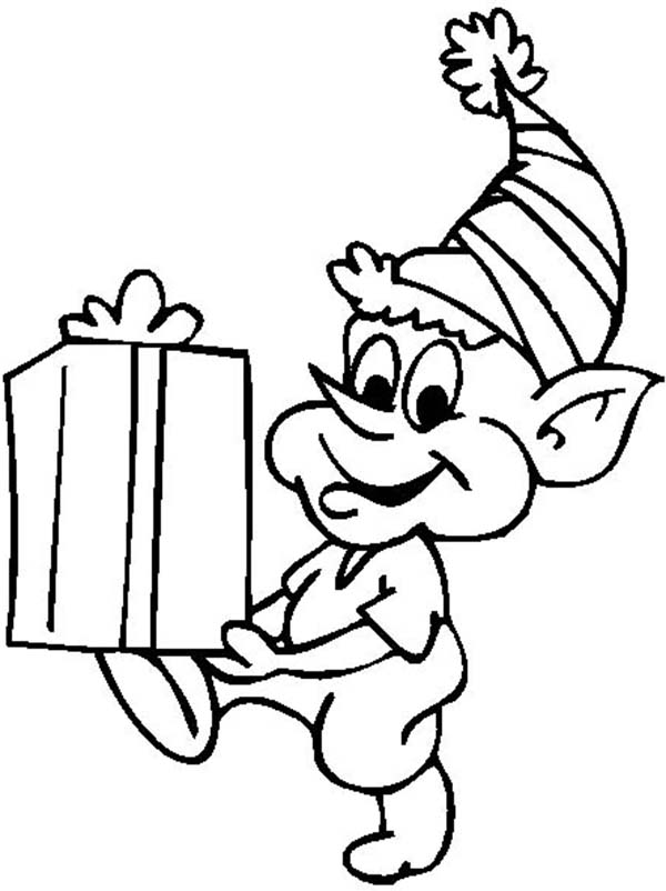 Elf, : Funny Little Elf Coloring Page
