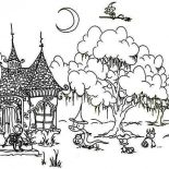 House, Ghost Meeting House In Houses Coloring Page: Ghost Meeting House in Houses Coloring Page