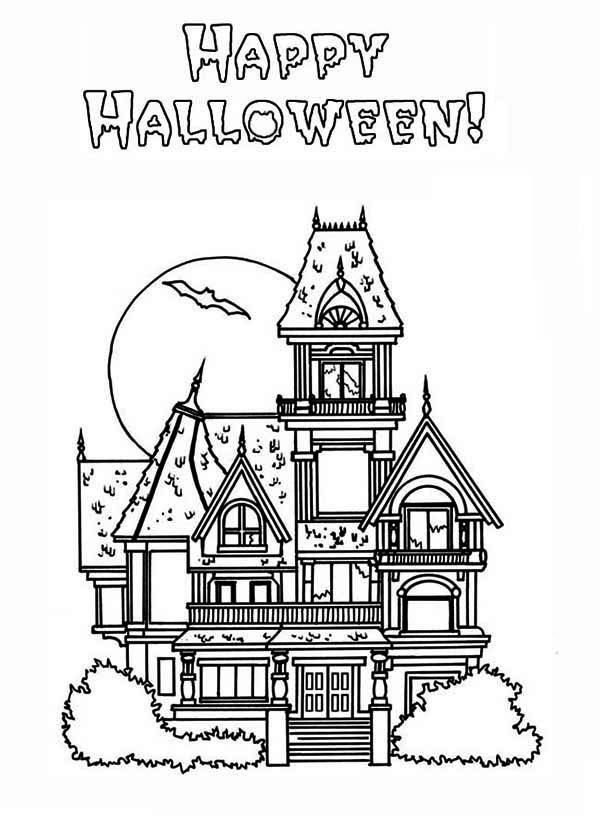 House, : Halloween Haunted House in Houses Coloring Page