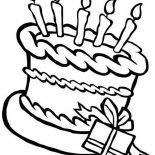 Happy Birthday, Happy Birthday Cake And A Present Coloring Page: Happy Birthday Cake and a Present Coloring Page