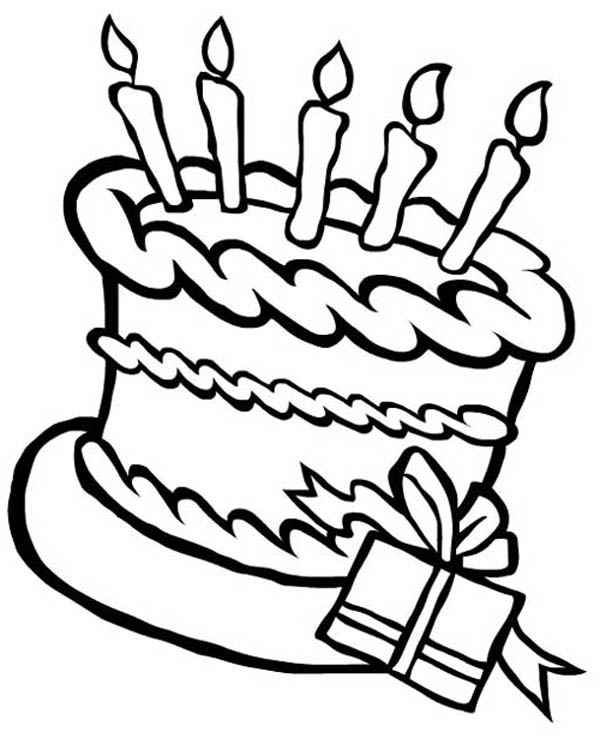 Happy Birthday, : Happy Birthday Cake and a Present Coloring Page