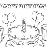 Happy Birthday, Happy Birthday Cake With Baloon On Its Side Coloring Page: Happy Birthday Cake with Baloon on its Side Coloring Page