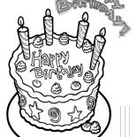 Happy Birthday, Happy Birthday Cake With Four Candles Coloring Page: Happy Birthday Cake with Four Candles Coloring Page