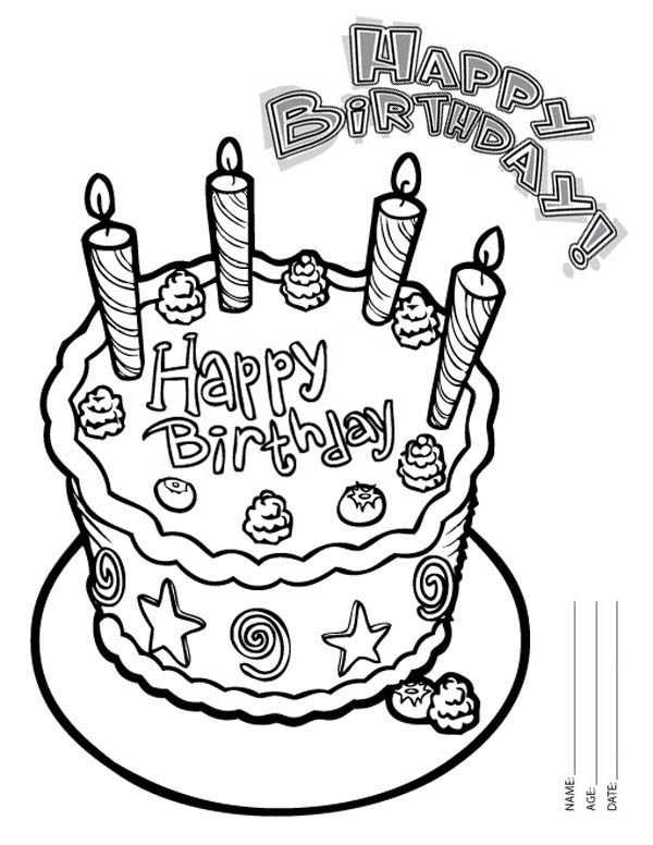 Happy Birthday, : Happy Birthday Cake with Four Candles Coloring Page