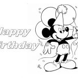 Happy Birthday, Happy Birthday Mickey Mouse Coloring Page: Happy Birthday Mickey Mouse Coloring Page