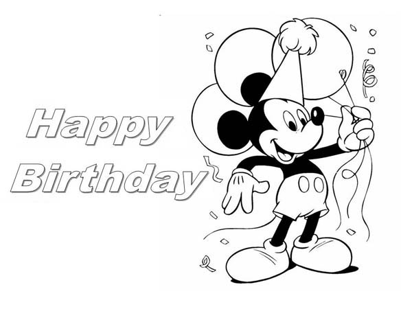 Happy Birthday, : Happy Birthday Mickey Mouse Coloring Page