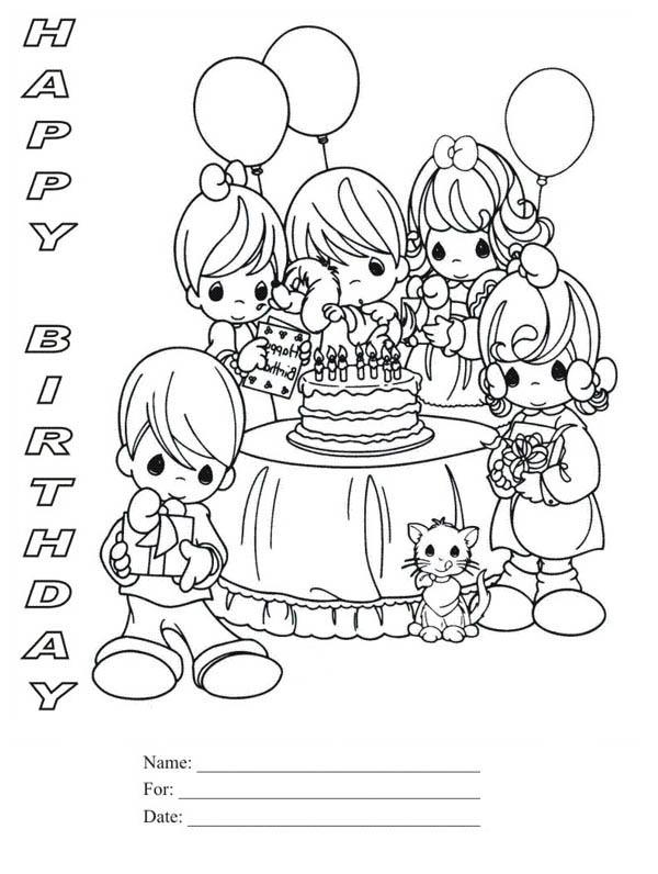 Happy Birthday, : Happy Birthday Party Coloring Page