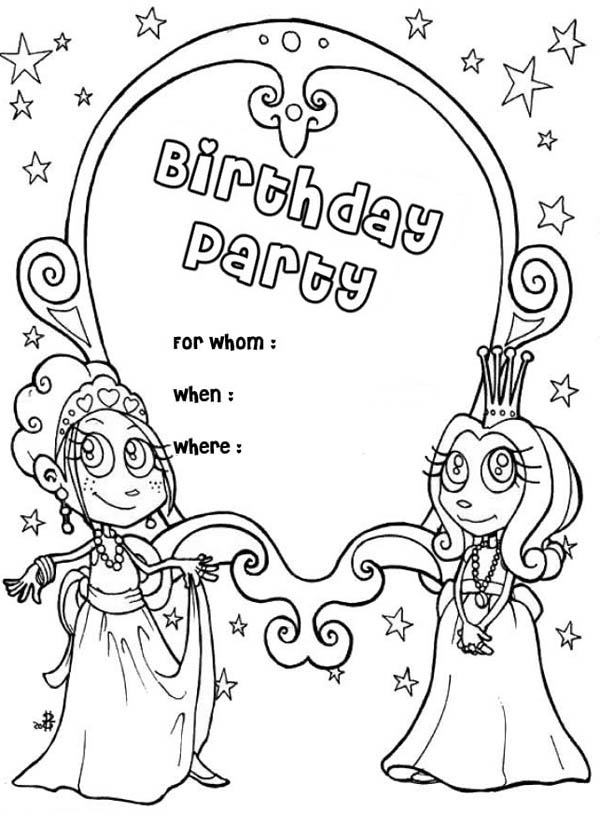 Happy Birthday, : Happy Birthday Party Invitation Coloring Page