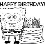 Happy Birthday, Happy Birthday Sponge Bob And Cake Coloring Page: Happy Birthday Sponge Bob and Cake Coloring Page