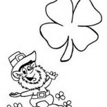 Four-Leaf Clover, Happy Leprechaun With Four Leaf Clover Coloring Page: Happy Leprechaun with Four-Leaf Clover Coloring Page